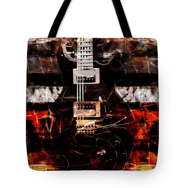 Abstract Guitar Into Metal Tote Bag by Nola Lee Kelsey