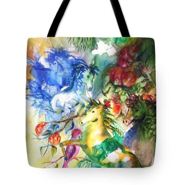 Abstract Horses Tote Bag