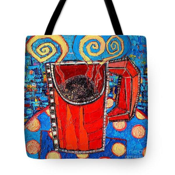Abstract Hot Coffee In Red Mug Tote Bag by Ana Maria Edulescu