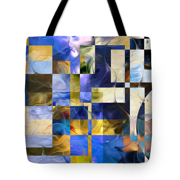 Tote Bag featuring the painting Abstract In Blue And White by Curtiss Shaffer