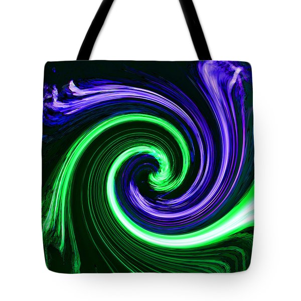 Abstract In Green And Purple Tote Bag by Art Block Collections