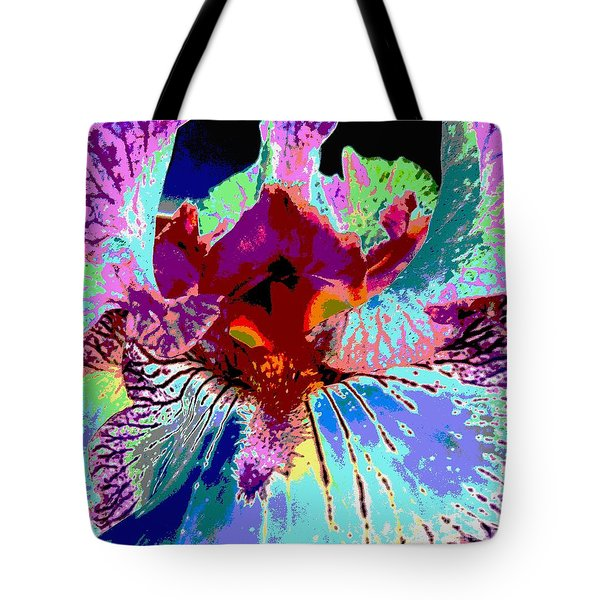 Tote Bag featuring the photograph Abstract Iris by Sally Simon