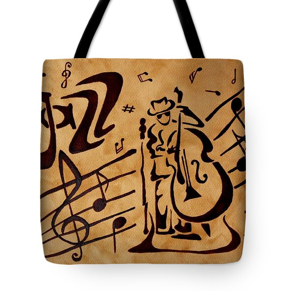 Tote Bag featuring the painting Abstract Jazz Music Coffee Painting by Georgeta  Blanaru