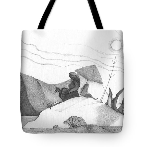 Abstract Landscape Art Black And White Beach Cirque De Mor By Romi Tote Bag by Megan Duncanson