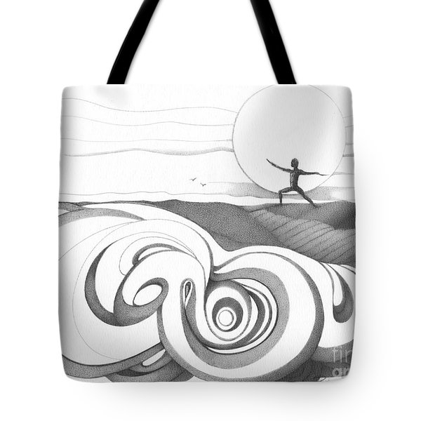 Abstract Landscape Art Black And White Yoga Zen Pose Between The Lines By Romi Tote Bag