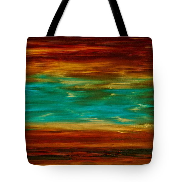 Abstract Landscape Art - Fire Over Copper Lake - By Sharon Cummings Tote Bag
