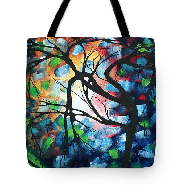 Abstract Landscape Art Original Colorful Painting Tree Maze By Madart Tote Bag by Megan Duncanson