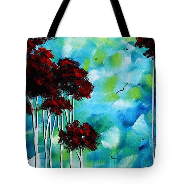 Abstract Landscape Art Original Tree And Moon Painting Blue Moon By Madart Tote Bag by Megan Duncanson