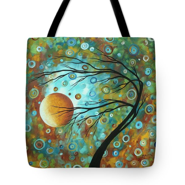 Abstract Landscape Circles Art Colorful Oversized Original Painting Pin Wheels In The Sky By Madart Tote Bag by Megan Duncanson