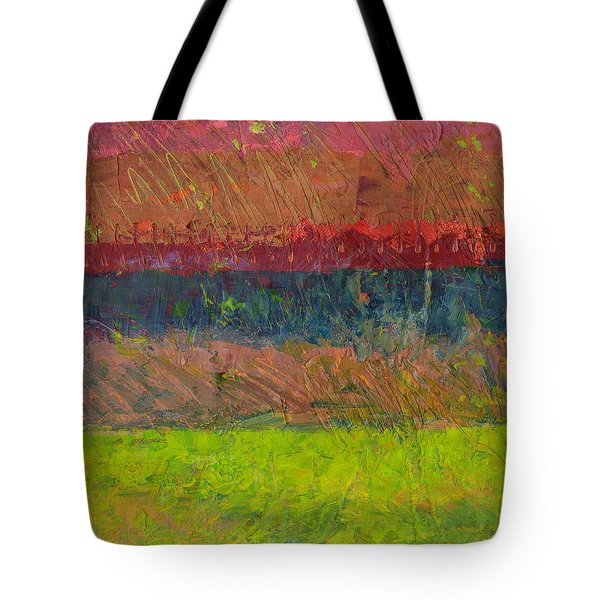 Abstract Landscape Series - Lake And Hills Tote Bag