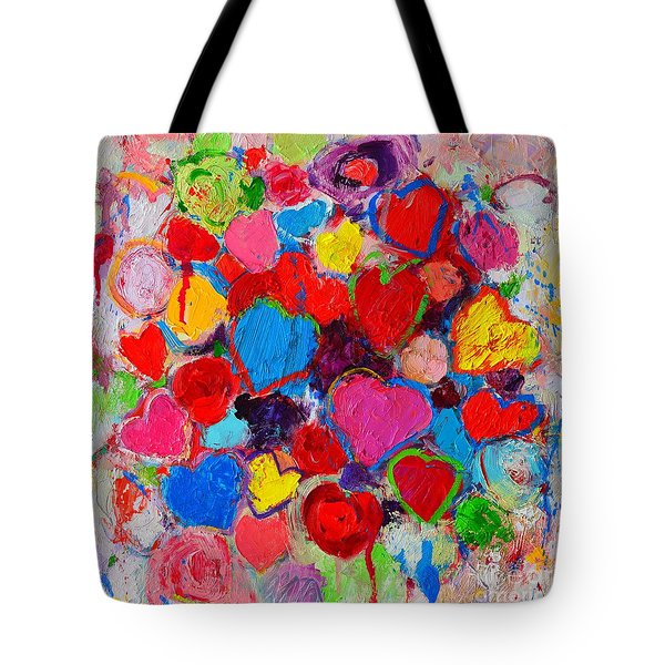 Abstract Love Bouquet Of Colorful Hearts And Flowers Tote Bag