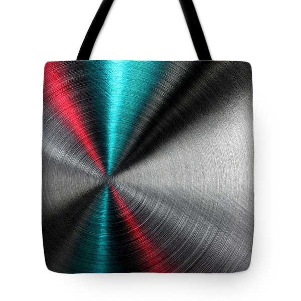 Abstract Metallic Texture With Blue And Red Ray Pattern. Tote Bag