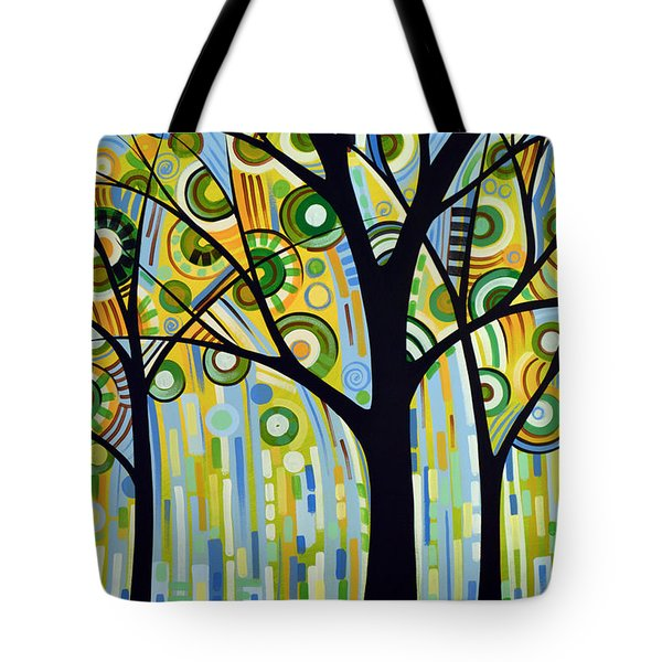 Abstract Modern Tree Landscape Spring Rain By Amy Giacomelli Tote Bag