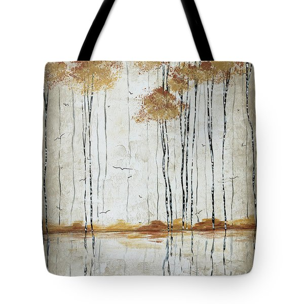 Abstract Neutral Landscape Pond Reflection Painting Mystified Dreams I By Megan Ducanson Tote Bag by Megan Duncanson