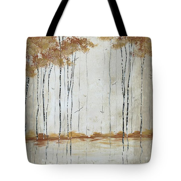 Abstract Neutral Landscape Pond Reflection Painting Mystified Dreams II By Megan Ducanson Tote Bag by Megan Duncanson