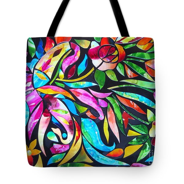 Abstract Paisley And Flowers Tote Bag