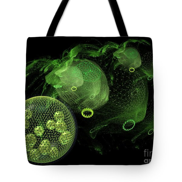 Tote Bag featuring the digital art Abstract Pond Creatures by Russell Kightley