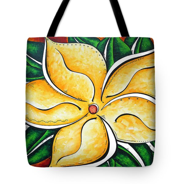 Abstract Pop Art Yellow Plumeria Flower Tropical Passion By Madart Tote Bag by Megan Duncanson