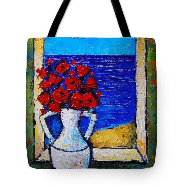 Abstract Poppies By The Sea Tote Bag