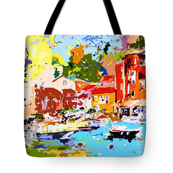 Abstract Portofino Italy Decorative Art Tote Bag