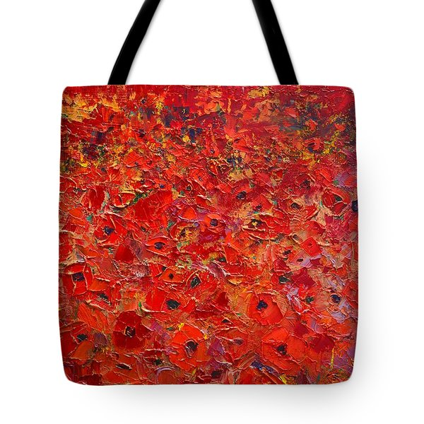 Abstract Red Poppies Field At Sunset Tote Bag by Ana Maria Edulescu