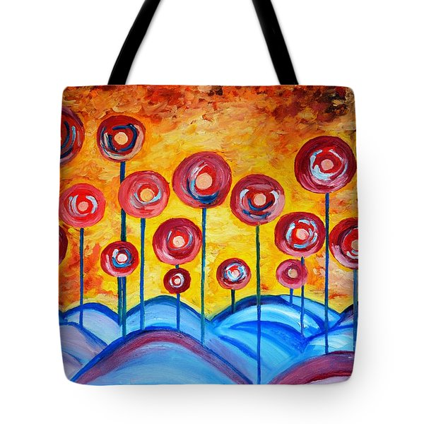 Abstract Red Symphony Tote Bag