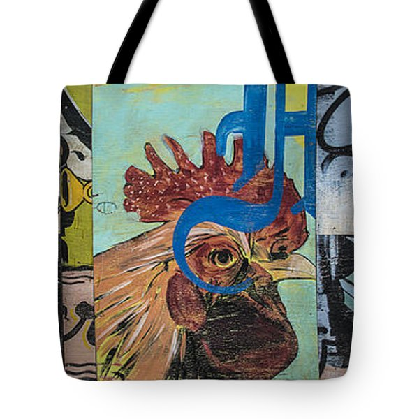 Abstract Rooster Panel Tote Bag