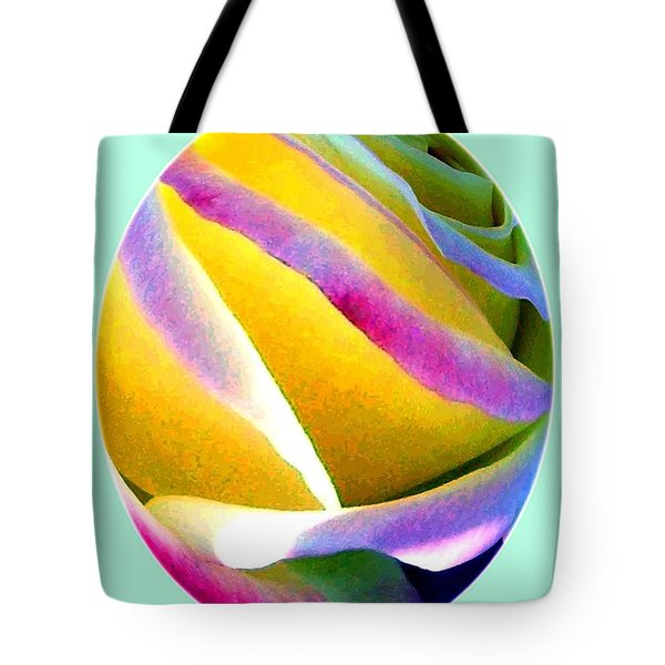 Abstract Rose Oval Tote Bag by Will Borden