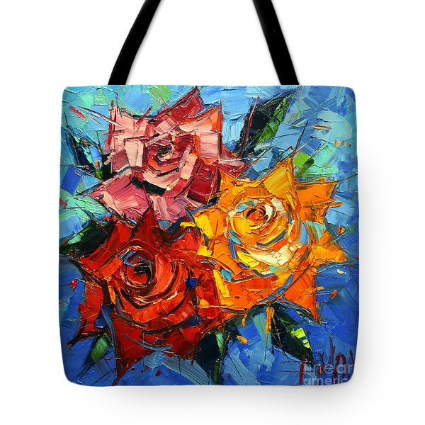 Abstract Roses On Blue Tote Bag