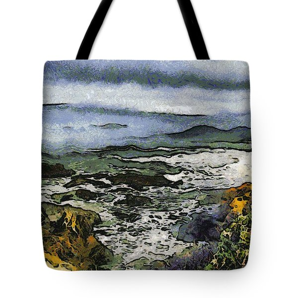 Abstract Seascape Morro Bay California Tote Bag by Barbara Snyder