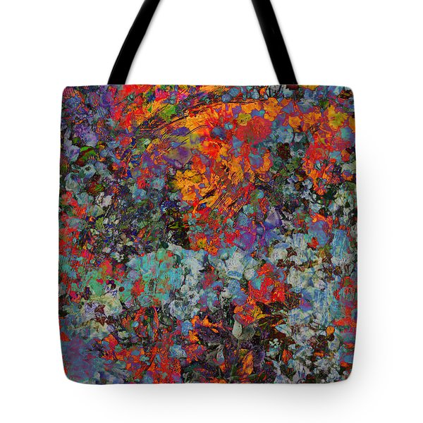 Tote Bag featuring the mixed media Abstract Spring by Ally  White