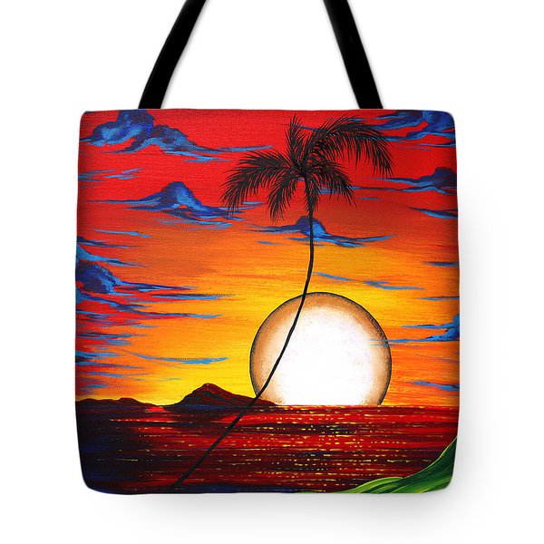 Abstract Surreal Tropical Coastal Art Original Painting Tropical Resonance By Madart Tote Bag by Megan Duncanson