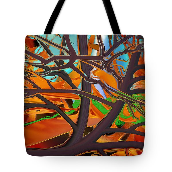 Abstract - Tree In Autumn Tote Bag by rd Erickson