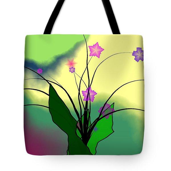Abstract Violets Tote Bag by GuoJun Pan
