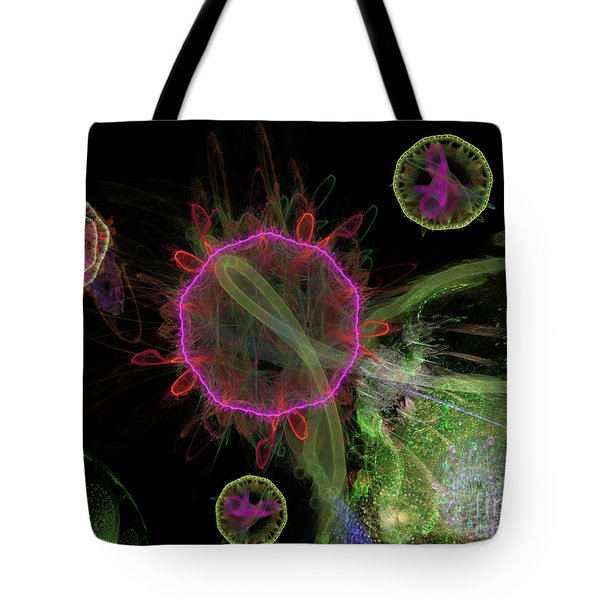 Tote Bag featuring the digital art Abstract Virus Budding 1 by Russell Kightley