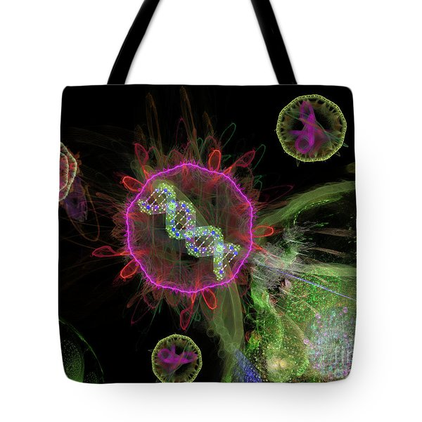 Tote Bag featuring the digital art Abstract Virus Budding 2 by Russell Kightley