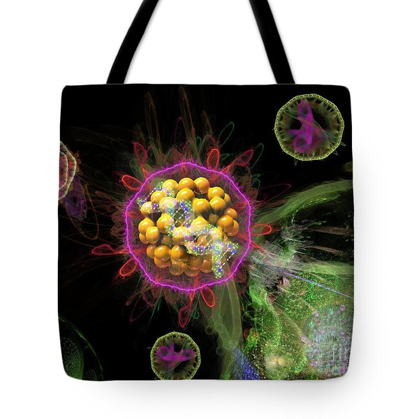 Tote Bag featuring the digital art Abstract Virus Budding 3 by Russell Kightley