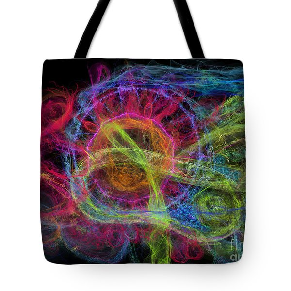 Tote Bag featuring the digital art Abstract Virus Budding Painterly 1 by Russell Kightley