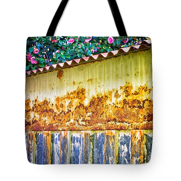 Abstract Weathered Metal Cabin Detail Tote Bag by Silvia Ganora