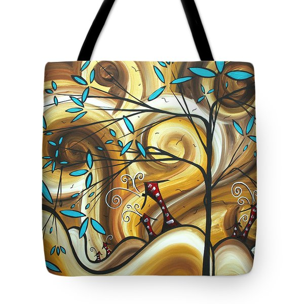 Abstract Whimsical Landscape Painting Home On The Range By Madart Tote Bag by Megan Duncanson