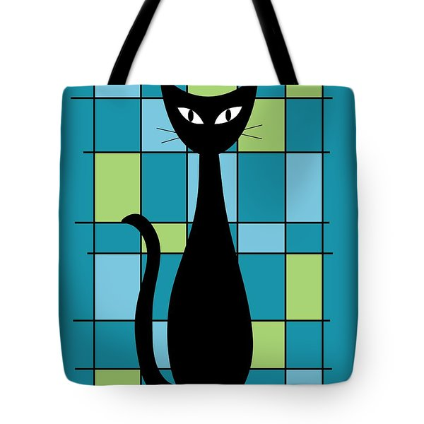 Abstract With Cat In Teal Tote Bag