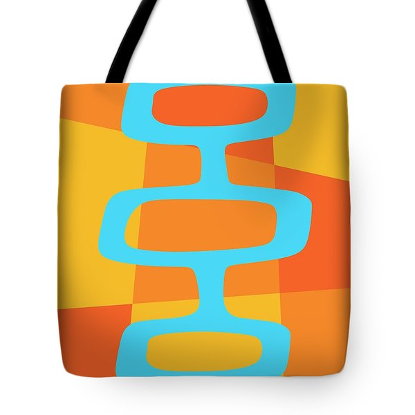 Tote Bag featuring the digital art Abstract With Turquoise Pods 3 by Donna Mibus