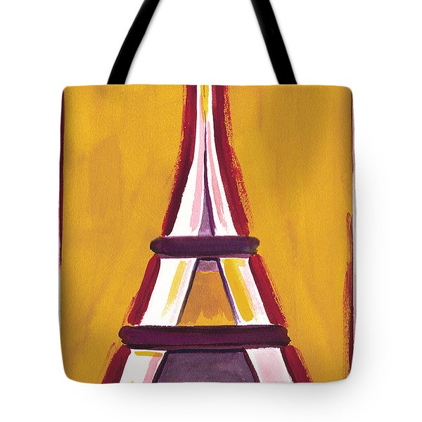 Abstract Yellow Red Eiffel Tower Tote Bag