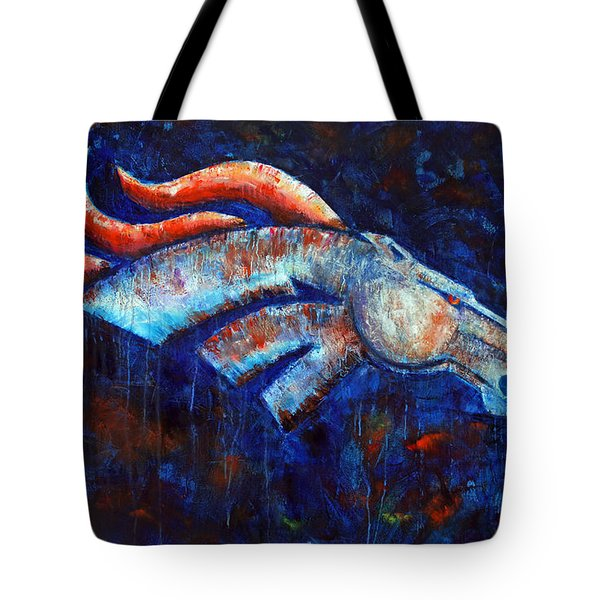Abstracted Bronco Tote Bag by Jennifer Godshalk