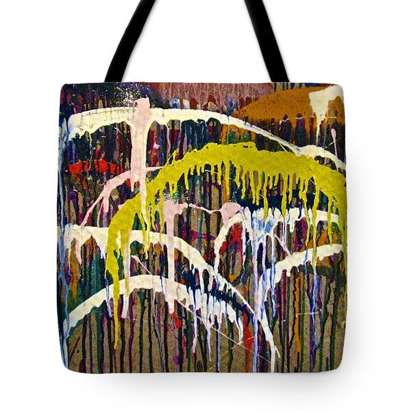 Abstracts 14 - Downtown With Umbrellas Tote Bag