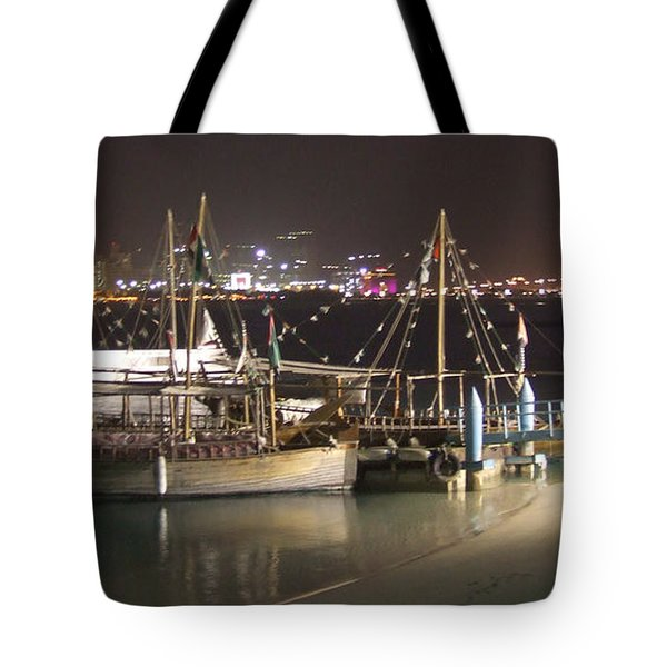 Tote Bag featuring the photograph Abu Dhabi At Night by Andrea Anderegg