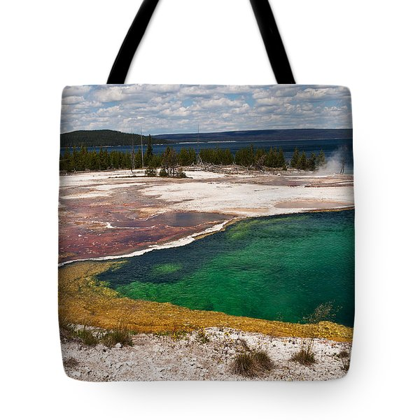 Tote Bag featuring the photograph Abyss Pool And Yellowstone Lake by Sue Smith