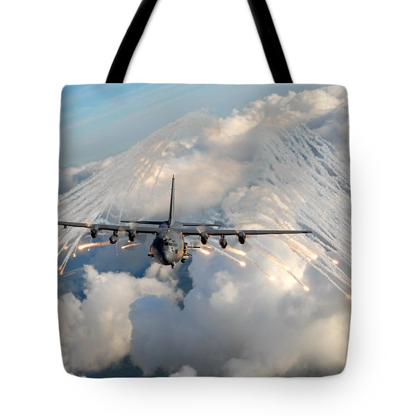 Ac-130h-u Gunship Aircraft Tote Bag by Celestial Images