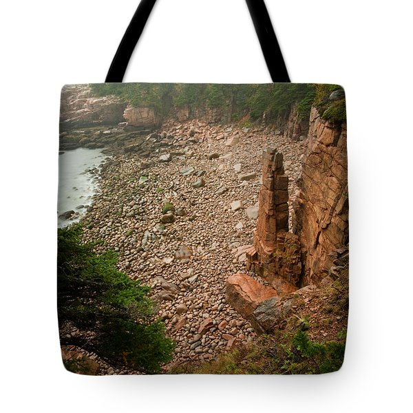 Acadia Fog At Monument Cove 4337 Tote Bag by Brent L Ander
