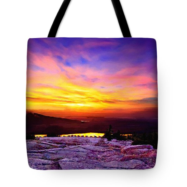 Acadia National Park Cadillac Mountain Sunrise Forsale Tote Bag